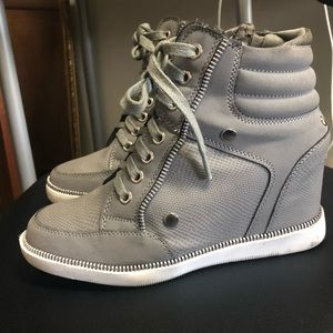 Gray sneaker wedges- size 5.5